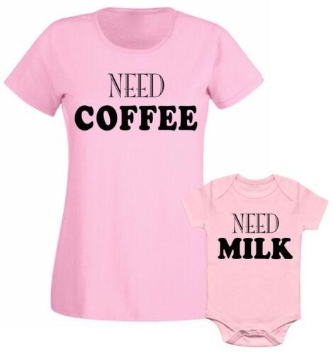 Family Matching T shirt Need Coffee Need Milk Mum Mummy Son Daughter Mothers Day
