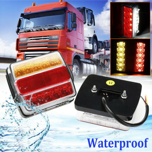 2X Rear 16 LED Submersible Trailer Tail Lights Kit Boat Marker Truck Waterproof