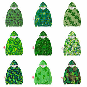 St Patricks Day Women Mens Hooded Sweatshirt Clover 3D Printed Pullover Tops