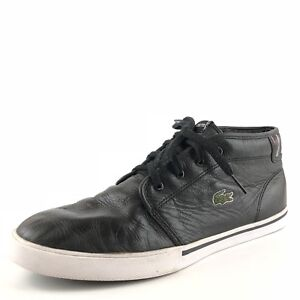 bd9314d92e6b8e Image is loading LACOSTE-Ampthill-Black-Leather-Casual-Hi-Top-Sneakers-