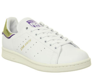 764ebe3038e3 Mens Adidas Stan Smith Trainers Off White Purple Gold Metallic ...