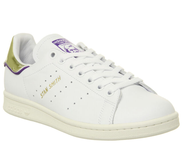 on sale 9738f 13442 Mens Adidas Stan Smith Trainers Off White Purple Gold Metallic Elizbeth Tfl  Trai