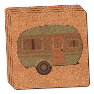 Camper-Trailer-RV-Camping-Thin-Cork-Coaster-Set-of-4