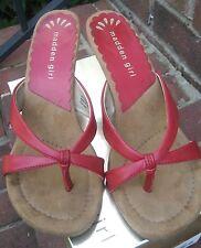 NIB Steve Madden Girl G-CAL4NA Red Paris Sandals Slip Ons Heels--Size 8M