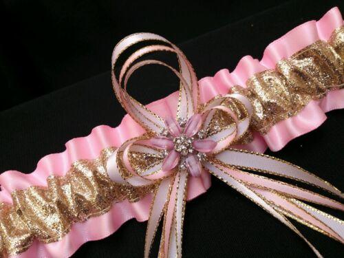Glam GOLD Glitter Light PINK and Rhinestones GARTER Wedding Bridal PROM