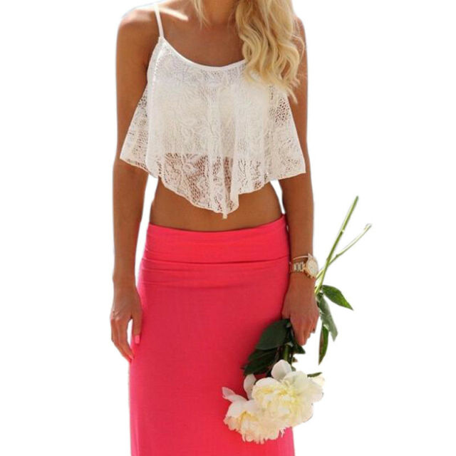 Sexy Women Lace Crochet Tank Crop Tops Sleeveless Shirt Summer Casual Blouse