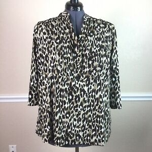 Style-Co-Womens-Top-Leopard-Print-3-4-Sleeve-Pin-Tuck-Button-Plus-Size-3X