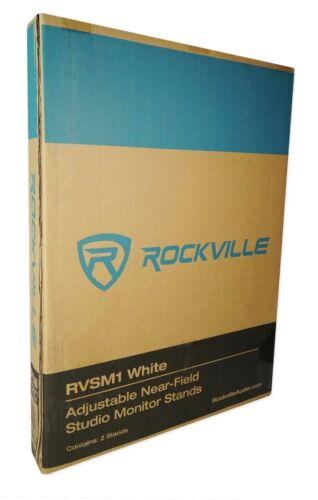 2 Rockville White Home Audio Stands w// Adjustable Height For Bookshelf Speakers