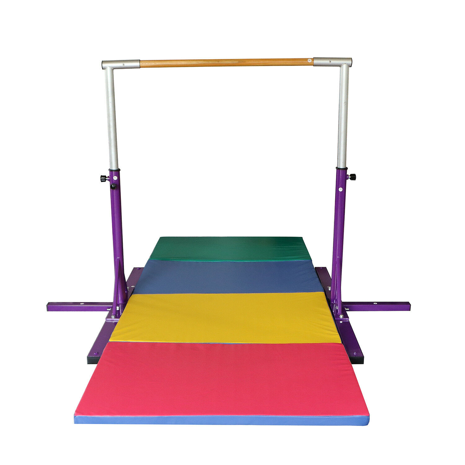 Purple Adjustable Horizontal Bar-Gymnastics Height Options colorful Folding Mat