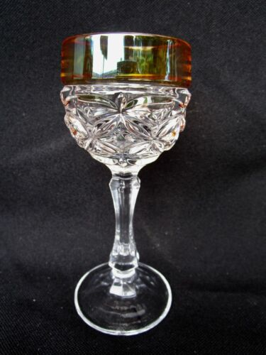 AMERICAN BRILLIANT PERIOD CUT GLASS WINE GLASS WITH IRIDIZED TOP