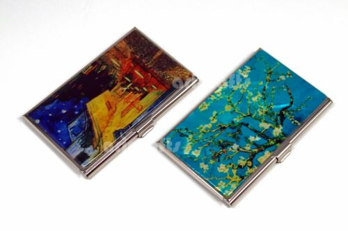 Mother of Pearl Metal Business Name ID Card Case Money Cash Holder Cat Butterfly