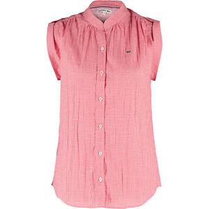 LACOSTE-Women-039-s-Red-Checkered-Sleeveless-Shirt-Medium-FR-40