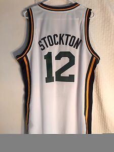 the latest e6527 3ae93 Details about Adidas Swingman NBA Jersey Utah Jazz John Stockton White sz L