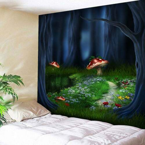 Fantasy Forest Tapestry Art Mushroom Wall Hanging Home Wall Tapestry Decorative