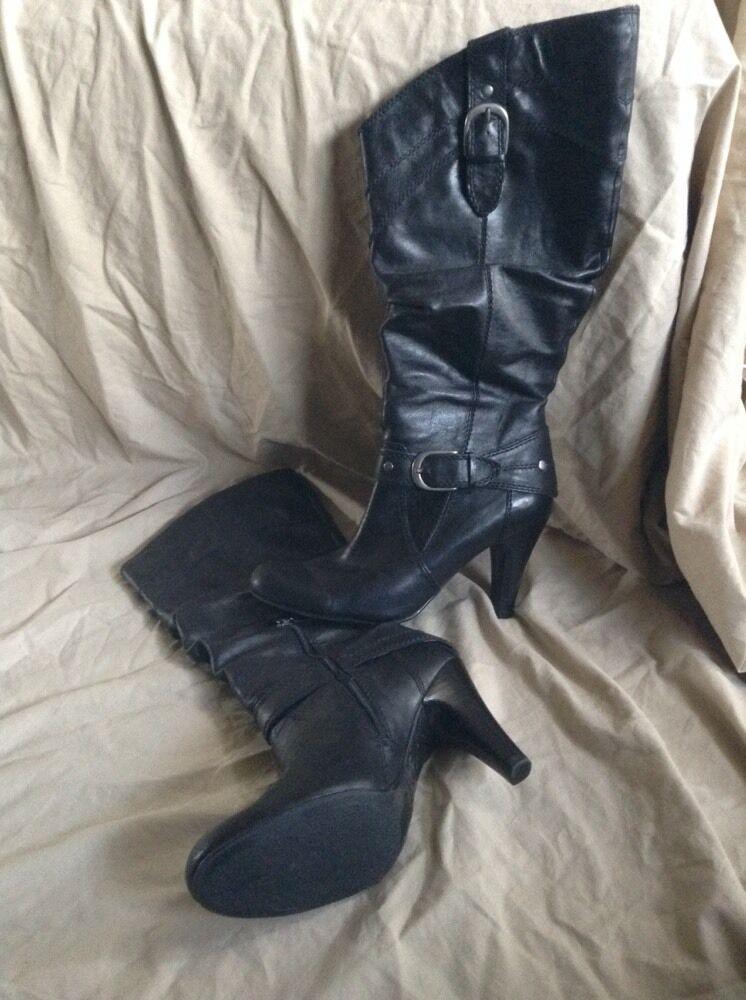 Women's Women's Women's Guess Pharrout Black Leather Boots Size 9.5 M High Heel Scrunchy 5156f8