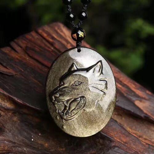 Perle Chaîne Natural Golden Obsidian Eye Carving Loup Pendentif