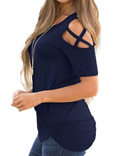 DE Damen Schulterfrei Kurzarm Damenshirt Rundhals Oberteil Sommer T-shirt Tops