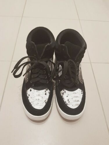 Witchery Arizona High Top Trainer Sneaker Snakeskin Leather Suede Boot