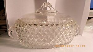 Antique Oval Covered Dish Lions Head handles and Top Diamond pattern Glass