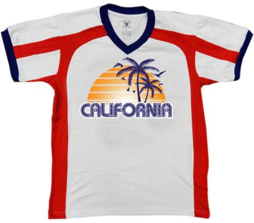 California Sunset Palm Trees Birds Distressed CA State Am Men/'s V-Neck Sport Tee