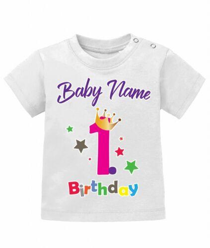 1.Geburtstag mit Wunschname Schreibschrift mit Name 80//86 Baby Mädchen Shirt