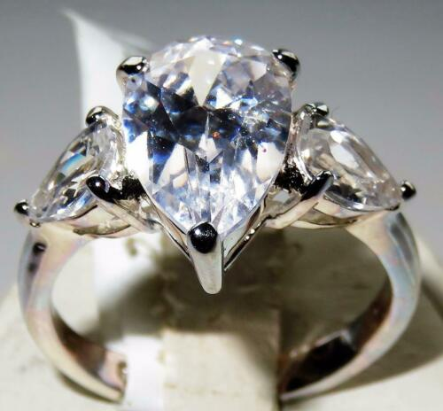 Ladies pear ring three stone cz anniversary sterling silver past present 13409