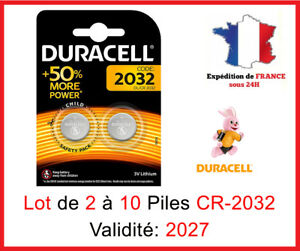 Lot-de-2-a-10-Pile-CR-2032-DL-2032-DURACELL-bouton-Lithium-3V-DLC-2027