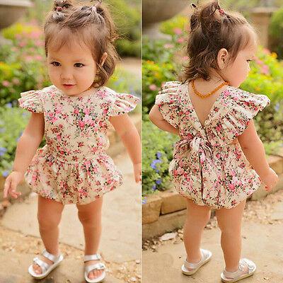 Toddler Kids Baby Girls Summer Flower Backless Romper Jumpsuit Outfits Sunsuit