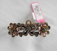 Betsey Johnson Bracelet Hinged Bangle Spring Bloom Purple Blue Shade Stones