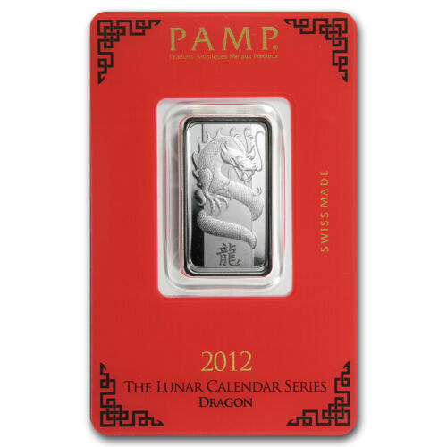 - SKU #76213 10 gram Silver Bar Year of the Dragon PAMP Suisse