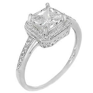 Sterling Silver CZ Princess Cut Halo Womens Engagement Wedding Ring Size 5-10