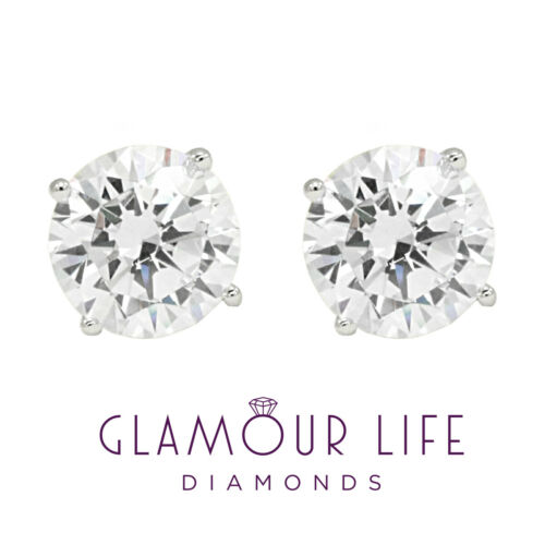 3 Ct Round Earrings Studs Solid 18K White Gold Brilliant Cut Basket Screw Back