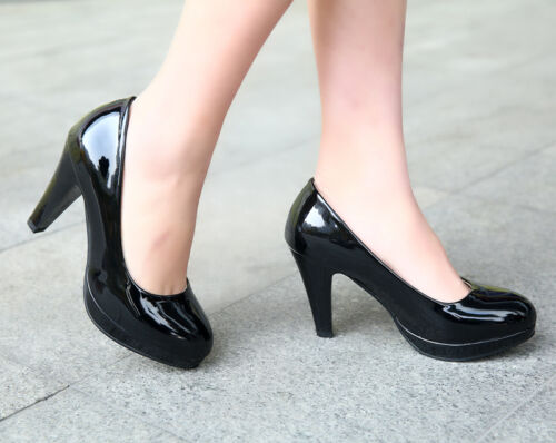 Classic Womens High Heels Patent Leather Round Toe Slip On Ladies OL Shoes Pumps