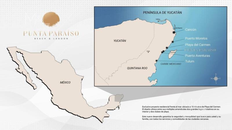 Terreno  en Venta Punta Paraiso Beach and Lagoon Frente al Mar 410 m2. Riviera Maya