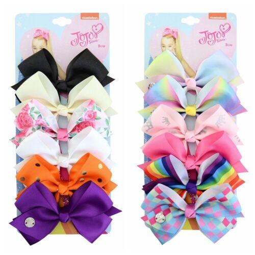 Rainbow Imprimé Noeud Ruban Cheveux Nœud Chip Jojo Siwa 6 pcs//Set pour enfants filles