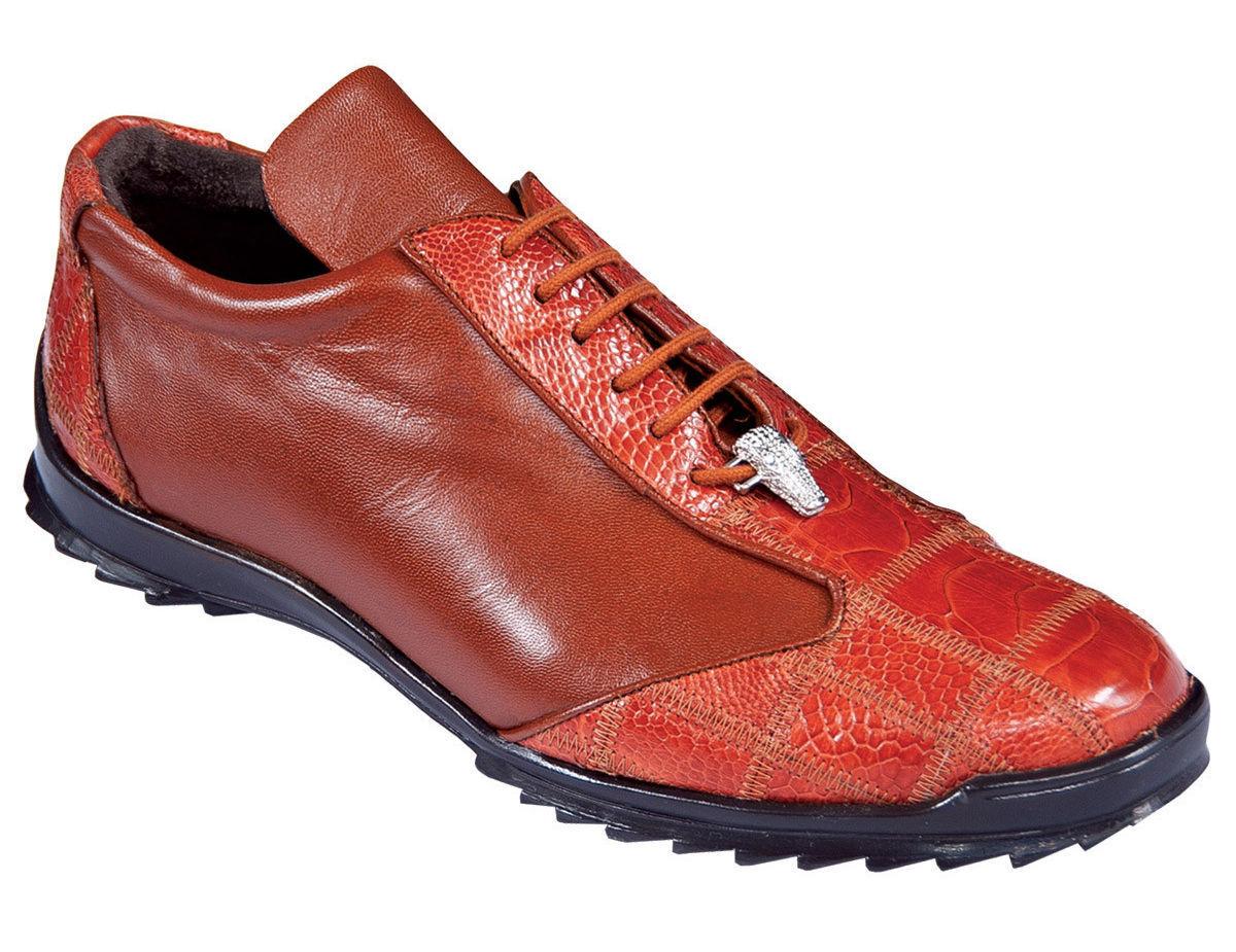 Los Altos Genuine COGNAC Ostrich Leg Casual Scarpe Lace Up Handmade Scarpe da Ginnastica D