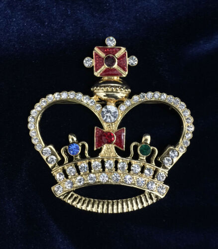 """Crystal Rhinestone Crown Brooch Gold Plated With Color Rhinestone.3-2//8/"""" Height"""