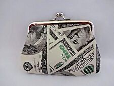 Coin change purse $100 US dollar bill large metal frame kiss clasp