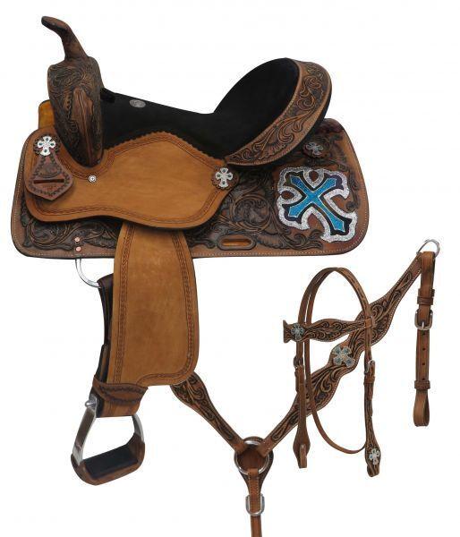 Double T  barrel style saddle set with metallic cross 14 , 15 , 16