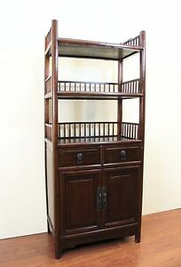 Image Is Loading A Chinese Black Dark Wood Bookcase Bookshelf Bottom