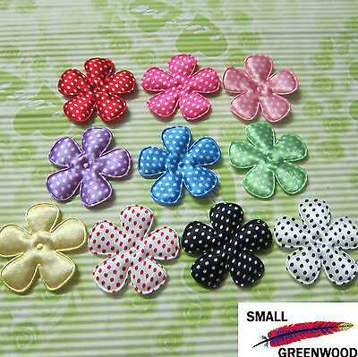"(U Pick) Wholesale 50-500 Pcs. 2"" Padded Polka Dot Satin Flower Appliques F2100A"