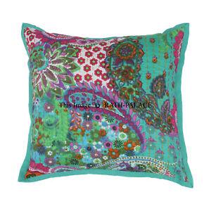 Cotton-Decorative-Boho-16-039-039-Kantha-Cushion-Cover-Throw-Indian-Case-Vintage-Decor