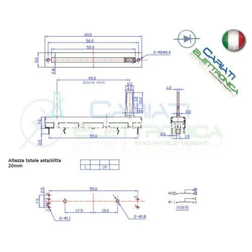 Potenziometro slider stereo a slitta lineare 60mm 10kohm 10k B103 B10K Mixer Aud