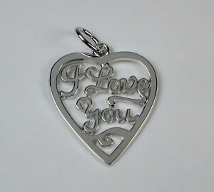Sterling-Silver-I-Love-You-Heart-Charm-w-Lobster-Claw-Clasp-Free-U-S-Shipping