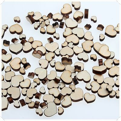 50p WOODEN MINI MIXED WOOD HEART DECOR IDEAL ART CRAFT CARD MAKING SCRAP BOOKING