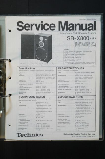 technics sb x800 original speaker service manual service manual rh ebay com angling technics wiring diagram technics 1200 tonearm wiring diagram