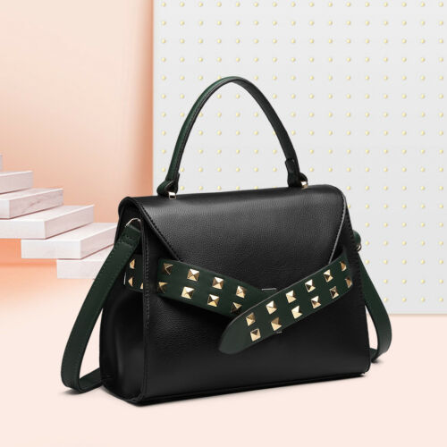 Ladies Designer Studded Belt Totes Crossbody Bag Pu Leather Handbag Medium