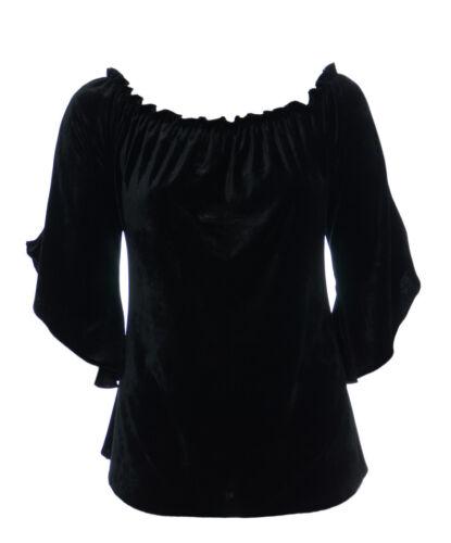 Femme Neuf Noir Stretch Velours Gothique Gypsy Haut Taille 16-26 évasée Manchette BNWT