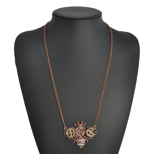 Vintage Steampunk Jewelry Machinery Gear Pendant Statement Necklace Choker Chain