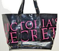 Victoria's Secret Black Patent Pink Sparkle Tote Shopper Bag Runway Angel Models